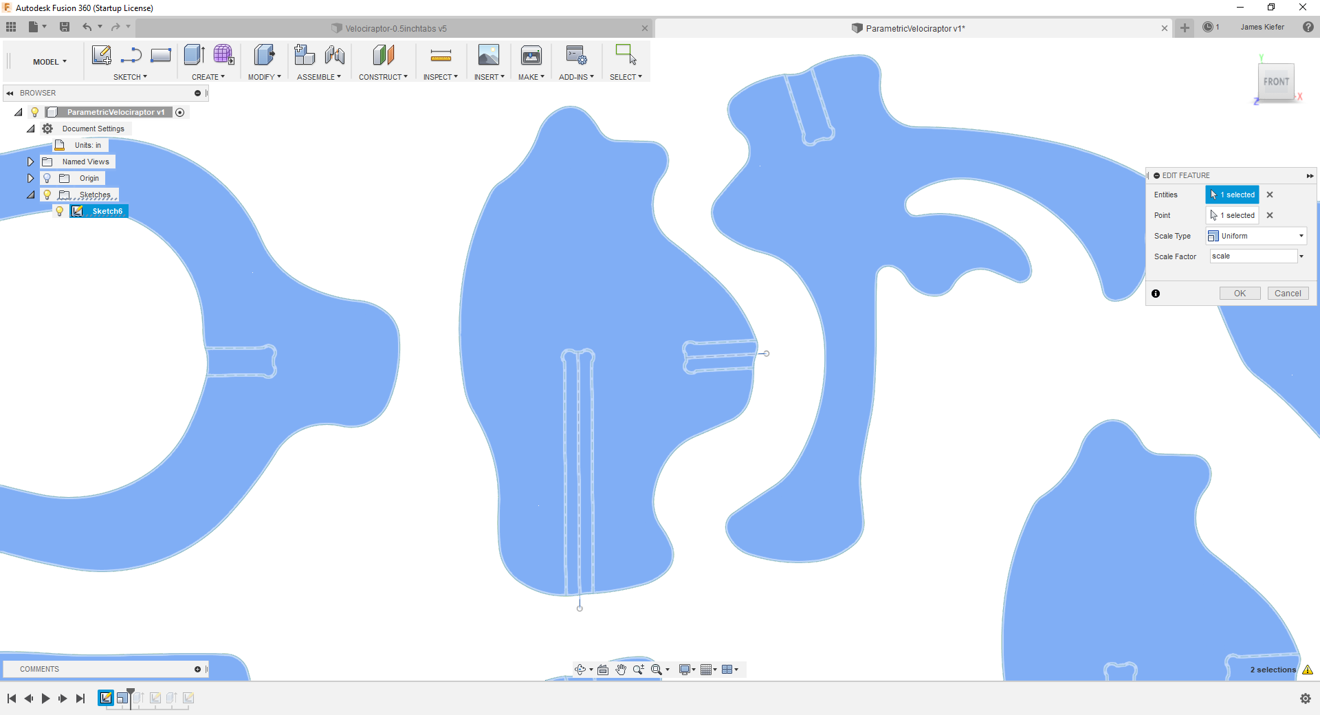 Independently Scaling slots of Slotted Assemblies in Fusion 360